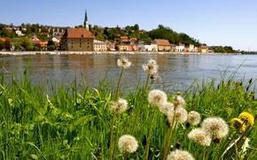 Picture the city, river, Austria, Linz, Linz