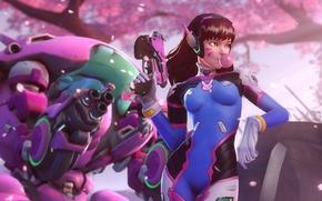 Picture girl, gun, robot, gum, Overwatch, D.Va, Hana Song