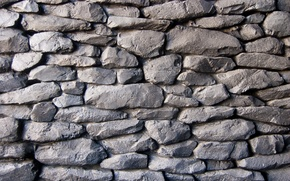 Picture wall, pattern, stones, gray