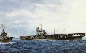 Picture ship, art, the carrier, Navy, military, Japanese, destroyer, WW2, destroyer, aircraft carrier, IJN, Shinano