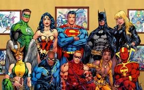Wallpaper batman, superman, comics, heroes, green lantern, wonder woman, dc universe