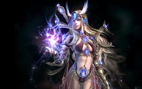 Picture girl, magic, hair, the game, glow, warrior, fantasy, Soul of the Ultimate Nation