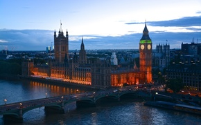 Picture lights, England, London, the evening, twilight