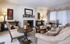 Picture sofa, furniture, interior, picture, mirror, fireplace, mansion, table, living room, living