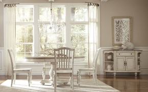 Picture interior, dining room, rustic style