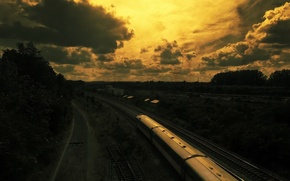Picture The sky, Clouds, Train, railroad, The way, Rails, Composition, Trees.