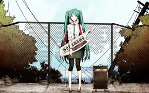 Picture girl, tie, vocaloid, Hatsune Miku, long hair