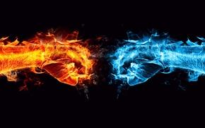 Picture flame, ice, clash, conflict, Ice vs Blaze