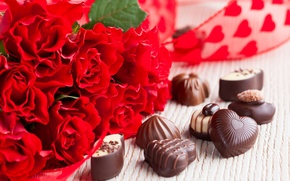 Picture flowers, chocolate, roses, bouquet, candy, red, dessert