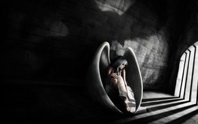Picture sadness, girl, wings, angel, camera, art, prisoner, prison, grid, Loris Stavrinides