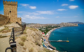 Picture sea, Summer, Russia, Crimea, Genoese fortress