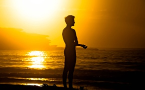 Wallpaper ocean, waves, sea, surfer, serenity, surfboard, man, sunny, seaside, summer, surf, peaceful, beach, silhouette, extreme ...