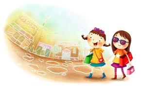 Picture the city, background, street, girl, walk, girlfriend, children's