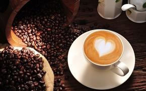 Picture background, Wallpaper, mood, heart, coffee, grain, wallpaper, love, heart, cappuccino, heart, widescreen, background, coffee, full ...