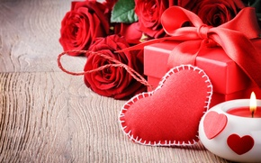 Picture love, gift, Valentine's Day, heart, love, roses, romantic