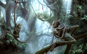 Picture forest, trees, fiction, jungle, art, creatures, vines, kenbarthelmey
