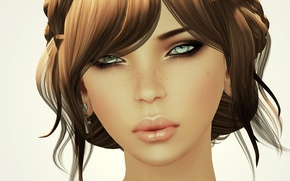 Picture girl, background, hairstyle, render, braids