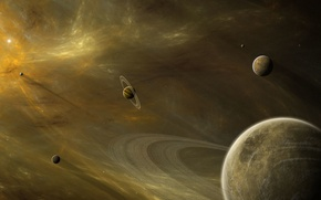 Picture space, nebula, planet, ring, stars