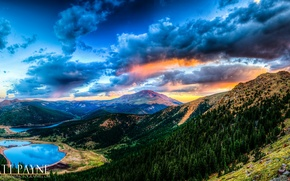 Picture forest, clouds, sunset, mountains, lake, Matt Payn