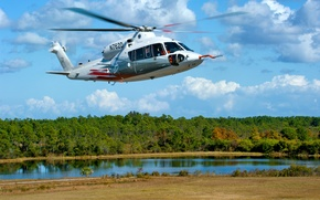 Wallpaper the sky, trees, river, helicopter, Bank, multipurpose, Sikorsky, S-76D