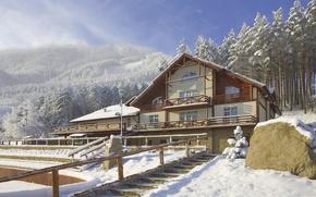 Picture Winter, Forest, House, Belokurikha, Altai Krai