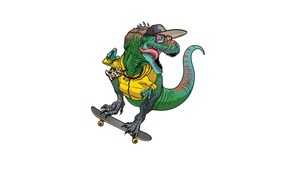 Picture style, dinosaur, cap, skate