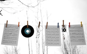 Picture notes, music, cassette, record