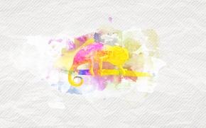 Picture chameleon, paint, minimalism, branch, divorce, texture, spot