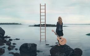 Picture girl, stones, shore, guitar, ladder, Escape Route