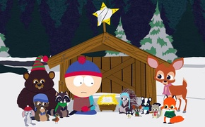 Wallpaper South Park, South Park, Christmas, forest animals, Woodland Critter Christmas, Stan
