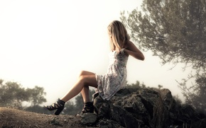 Picture girl, nature, stone, dress