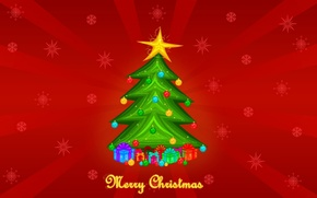 Picture toys, tree, red background