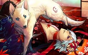 Picture leaves, wolf, art, tape, guy, kimono, sasa, xaine, udonnodu