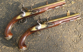 Wallpaper wallpaper, gun, ancient weapon, garrucha, pistol Britannic leaf, English gun, ordnance, Brander, Brander e Potts, ...
