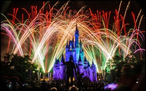 Picture lights, holiday, backlight, Disneyland, colorful, fireworks, Sleeping Beauty's Castle