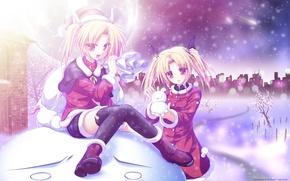 Wallpaper winter, snow, trees, the city, girls, holiday, the moon, comet, New year, snowman, bag