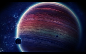Wallpaper space, stars, planet, the moon, gas giant