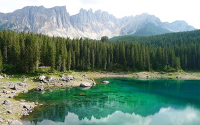 Wallpaper forest, trees, mountains, lake, stones, rocks, shore, Italy, South Tyrol, The Dolomites, Karersee, Carezza