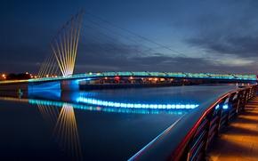 Wallpaper macro, bridge, the city, lights, the evening, railings, promenade