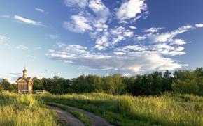 Picture road, summer, landscape, nature, temple