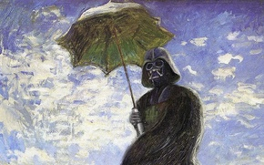 Picture the sky, umbrella, picture, Star Wars, helmet, cloak, Darth Vader, oil
