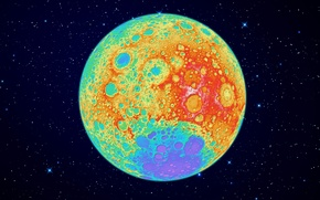 Picture The moon, color, side, reverse