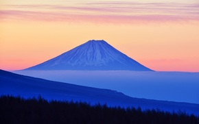 Picture the sky, clouds, trees, sunset, Japan, mount Fuji