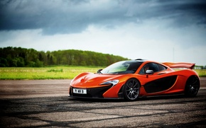 Picture McLaren, The sky, Grass, Trees, Orange, Sky, Grass, Supercar, Supercar, Trees, Macleran