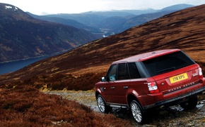 Wallpaper Land Rover, Red, mountains