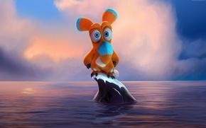 Picture sea, cartoon, oops Noah sailed, ooops noah is gone