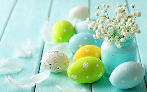 Picture flowers, eggs, spring, flowers, delicate, blue, Easter, pastel, eggs, tree, spring, easter, pastel