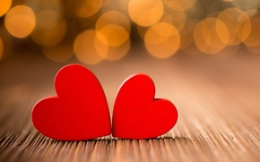 Picture macro, lights, table, tree, heart, hearts, red, bokeh