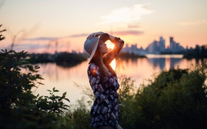 Wallpaper girl, the sun, sunset, the city