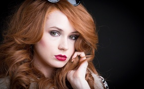 Picture look, girl, face, actress, glasses, beauty, the series, red hair, redhead, red lips, Karen Gillan, …